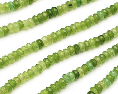 Green Quartz Faceted Rondelle 4mm