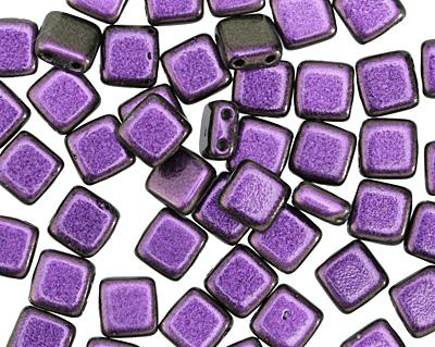 CzechMates Glass Polychrome Black Currant 2-Hole Tile 6mm