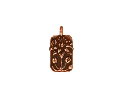 TierraCast Antique Copper (plated) Floating Lotus Charm 9x17mm