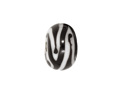Grace Lampwork Zebra Stripes Rondelle 9x14mm
