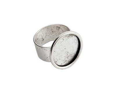 Nunn Design Silver (plated) Large Circle Frame Adjustable Ring 21mm