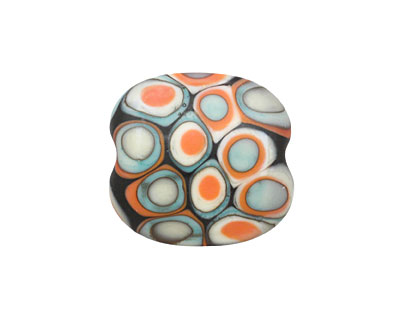 A Beaded Gift Copper Coral Mod Squad Glass Rounded Pillow 20-23x20mm