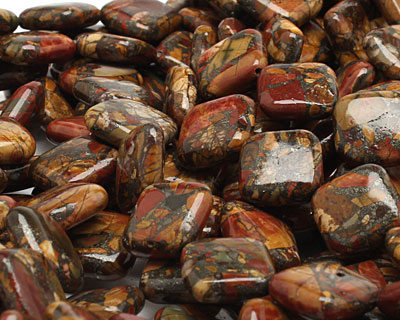 Red Creek Jasper w/ Pyrite Diamond 16mm