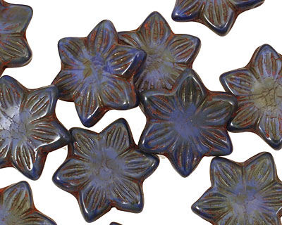 Czech Glass Navy Picasso 6 Petal Flower 18mm