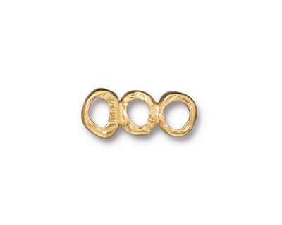TierraCast Gold (plated) 3 Ring Bar Link 19x7mm