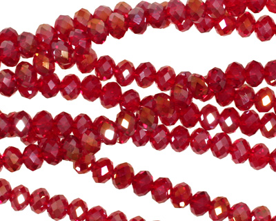 Garnet AB Crystal Faceted Rondelle 4mm