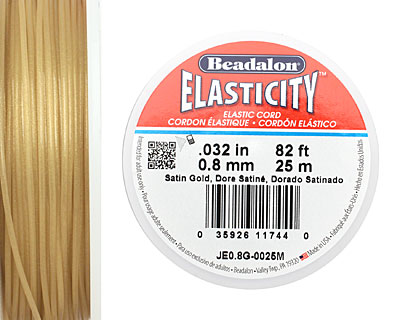 Elasticity Satin Gold .8mm, 25 meters