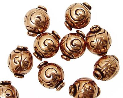 Antique Copper Round with Swirl 12x10mm