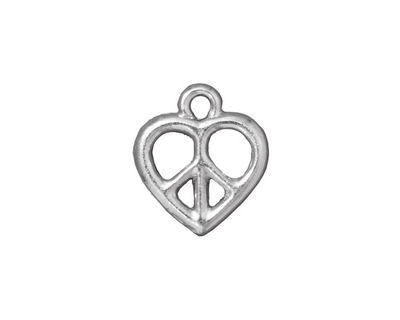TierraCast Rhodium (plated) Heart Peace Charm 15x17mm
