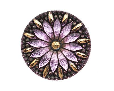 Czech Glass Amethyst Daisy Button 32mm