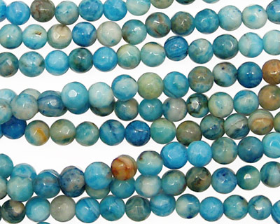 Larimar Blue Crazy Lace Faceted Round 4mm