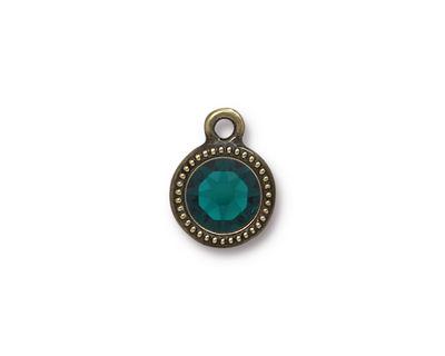 TierraCast Antique Brass (plated) Beaded Bezel Charm w/ Emerald Crystal 10x14mm
