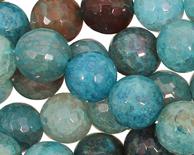 Blue Haze Fire Agate Faceted Round 12mm