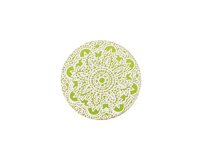 Lillypilly Lime Green Lace Anodized Aluminum Disc 19mm, 24 gauge