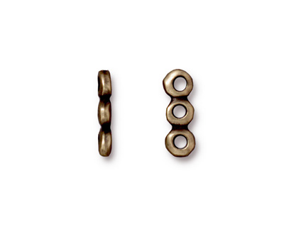 TierraCast Antique Brass (plated) Nugget 3-Hole Bar 5x14mm