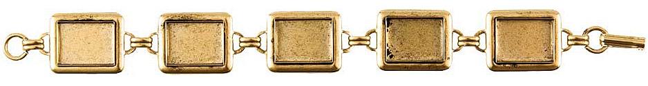 Nunn Design Antique Gold (plated) Large Rectangle Bezel Bracelet 16x12mm