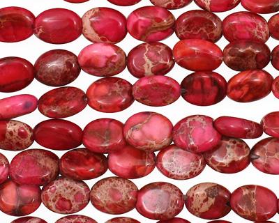 Ruby Impression Jasper Flat Oval 8x6mm