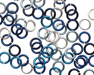 Ocean Mix Enameled Copper Round Jump Ring 6mm, 18 gauge