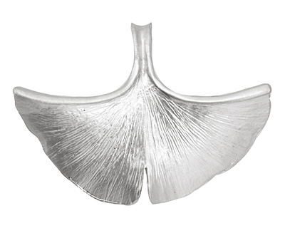 Ezel Findings Rhodium (plated) Ginkgo Leaf Pendant 40x30mm