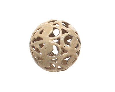 Painting with Fire Torch Fired Enamel Nut Brown Arabesque Round 20mm