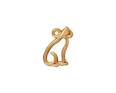 TierraCast Gold (plated) Cat Charm 10x17mm