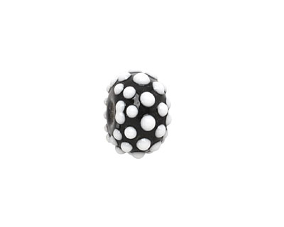 Grace Lampwork Black and White Dots Rondelle 9x13mm