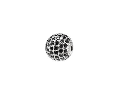 Silver (plated) & Jet CZ Micro Pave Round 10mm