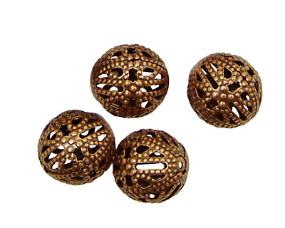 Stampt Antique Copper (plated) Filigree Ball 12mm
