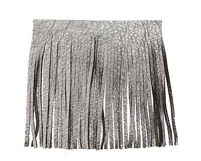 Antiqued Silver Leather Tassel Fringe 5 inch square