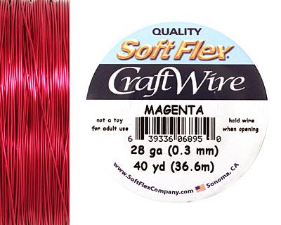 Soft Flex Magenta Craft Wire 28 gauge, 40 yards