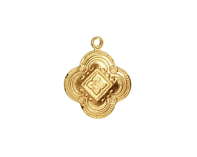 Brass Ornate Clover Charm 16x19mm