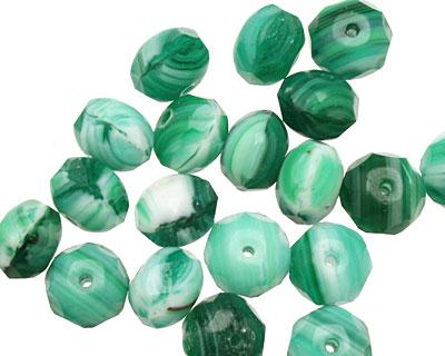 Czech Glass Emerald Swirl Fire Polished Rondelle 6x9mm