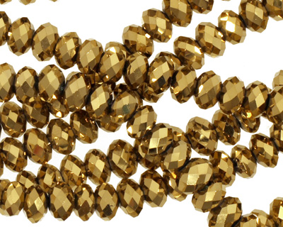 Metallic Antique Gold Crystal Faceted Rondelle 6mm