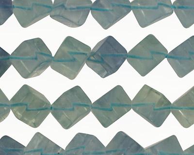 Blue Green Fluorite Diagonal Drilled Cube 12mm