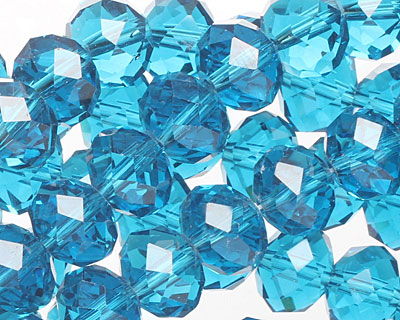 Pacific Blue Crystal Faceted Rondelle 10mm