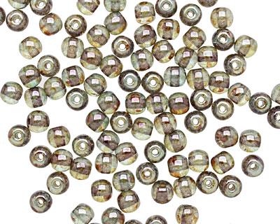 Czech Glass Luster Transparent Green Round 4mm