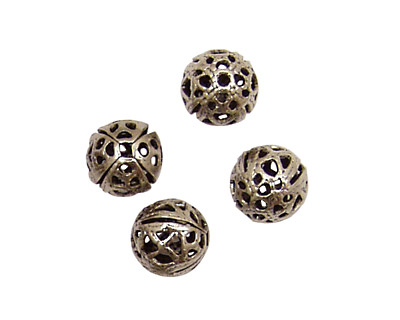 Stampt Antique Pewter (plated) Filigree Ball 8mm