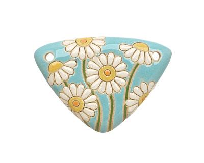 Golem Studio Daisies on Blue Carved Ceramic Triangle Pendant 48x35mm