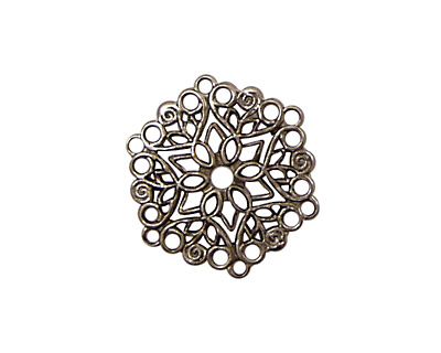 Stampt Antique Pewter (plated) Poinsettia Filigree 22mm