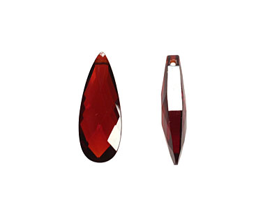 Garnet Faceted Flat Teardrop 7x18mm