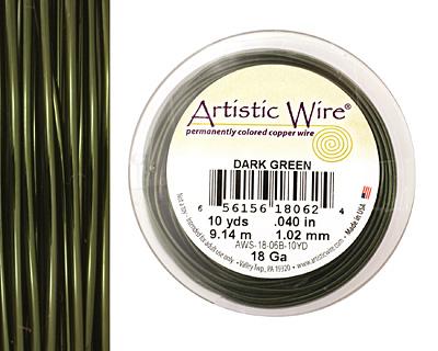 Artistic Wire Dark Green 18 gauge, 10 yards