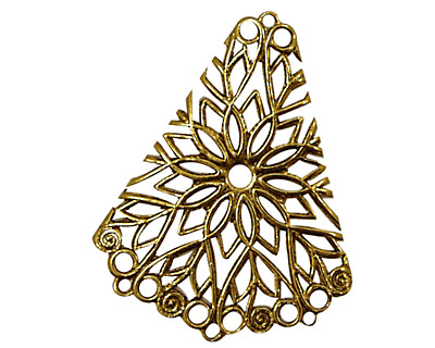 Stampt Antique Gold (plated) Floral Fan Filigree 28x36mm