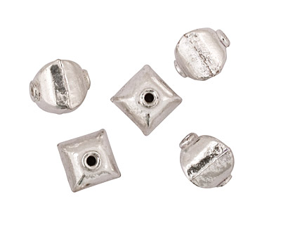 Silver (plated) Puff Square 10x9mm