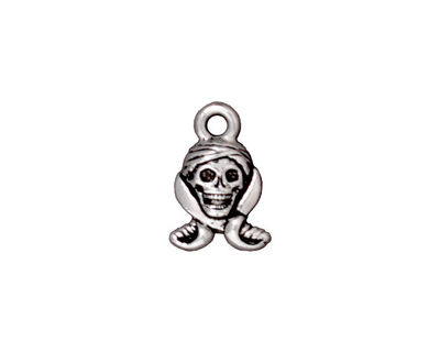 TierraCast Antique Silver (plated) Pirate Skull Charm 10x16mm