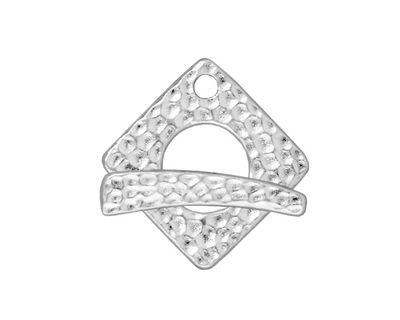 TierraCast Rhodium (plated) Hammered Square Toggle Clasp 18xmm, 23mm bar
