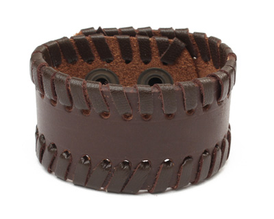 Brown Leather Stitched Edge Cuff 1 1/2