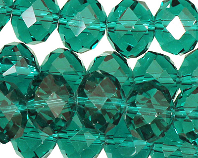 Winter Green Crystal Faceted Rondelle 14mm
