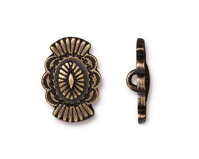 TierraCast Antique Brass (plated) Western Button 14x20mm