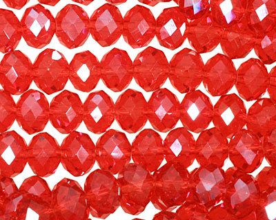 Ruby Crystal Faceted Rondelle 8mm