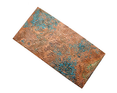 Lillypilly Azul Psychedelic Embossed Patina Copper Sheet 3